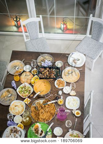 Top view of leftovers food on table