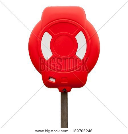 Red Lifebuoy Case Isolated On White