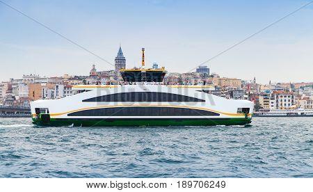Passenger Ferry Goes In Golden Horn, Istanbul