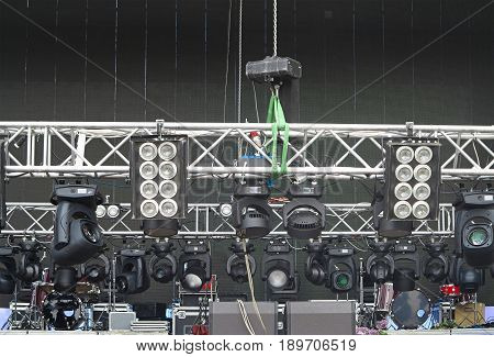 professional lighting equipment projectors and led light on stage structures