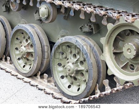 Green Tracks Of Russian Tank Closeup View From Front