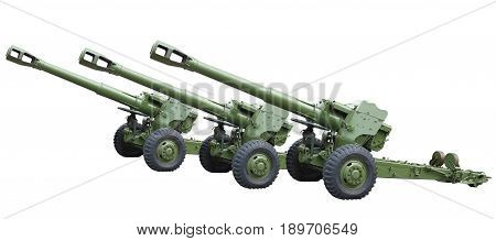 Three Old Green Russian Artillery Field Cannon Gun Isolated Over White
