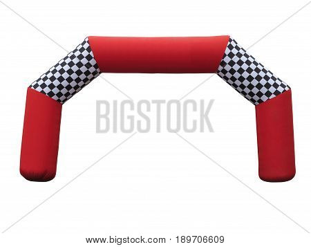 Inflatable red race finish gate isolated over white background