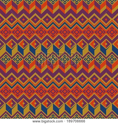 Vector seamless ethnic pattern. Tribal seamless texture. Vintage ethnic seamless backdrop. Boho style. Mustard, orange and blue colors. Vector illustration.