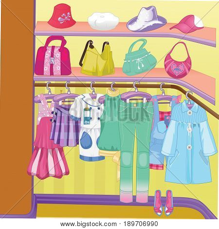 Wardrobe for cloths. Closet with clothes bags boxes and shoes. Shopping Time. Vector illustration