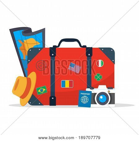 Tourist suitcase, camera,hat, map and passport. Element for your travel design. Vector stock.