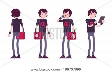 Emo boy, true subculture look, skinny jeans, black t-shirt, wristbands, choppy hairstyle, depressed, standing pose with phone. Vector flat style cartoon illustration, isolated, white background
