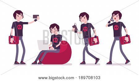 Emo boy, true subculture look, skinny jeans, black t-shirt, wristbands, choppy hairstyle, sitting with laptop, phone, making selfie. Vector flat style cartoon illustration, isolated, white background