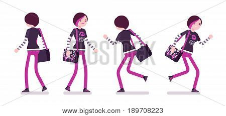 Emo girl, true subculture look, skinny trousers, striped longsleeve, dyed bright orchid hair, walking and running, front, rear view. Vector flat style cartoon illustration, isolated, white background