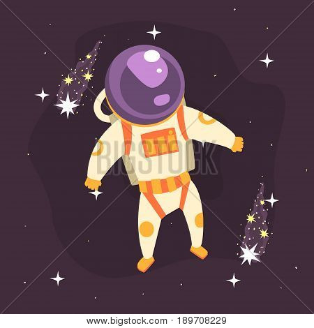 Cosmonaut in space suit at spacewalk in open Space colorful vector Illustration