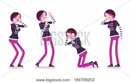 Emo girl, true subculture look, skinny trousers, striped longsleeve, dyed bright orchid hair, feeling melancholy, emotional distress. Vector flat style cartoon illustration, isolated, white background