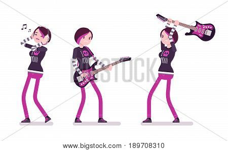 Emo girl, true subculture look, skinny trousers, striped longsleeve, dyed orchid hair, playing, crashing guitar, listening to music. Vector flat style cartoon illustration, isolated, white background