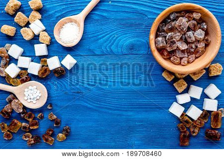 Sugar Lumps For Sweet Food Cooking On Kitchen Blue Table Top View Mock Up