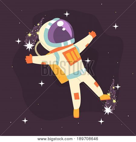 Astronaut in space suit at spacewalk colorful vector Illustration