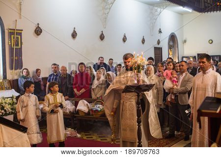 PORTO, PORTUGAL - APR 16, 2017: Celebration of Orthodox Easter in Parish of Sainted New Martyrs and Confessors of Russia. Russian Orthodox Church has more than 16 parishes and communities in Portugal.