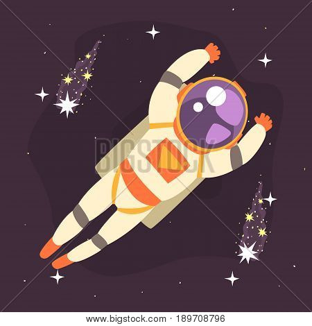 Cosmonaut floating in outer Space colorful vector Illustration