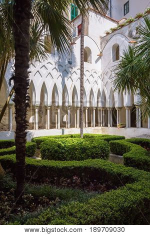 Courtyard of Cloister of Paradise at Cathedral of of St Andrea in Amalfi