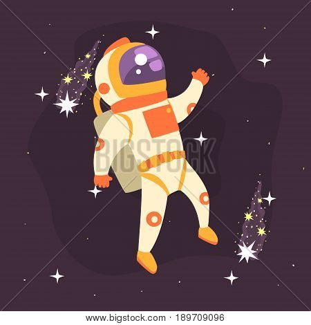 Astronaut working in outer Space colorful vector Illustration