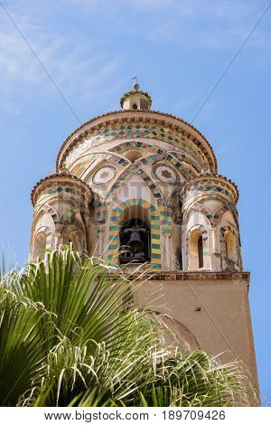 Closeup of the bell tower of Amalfi Cathedral dedicated to the Apostle Saint Andrew Campania Italy