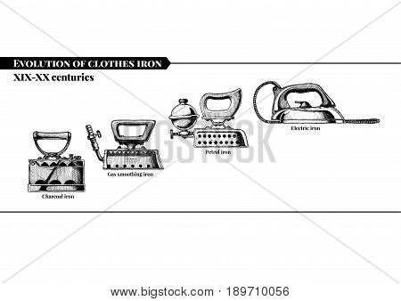 Vector hand drawn illustration of clothes iron evolution set. XIX-XX centuries. Charcoal gas smoothing petrol and electric irons. Isolated on white background. Side view.