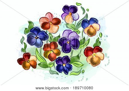Vector illustration of watercolor flowers violets and pansy and leaves