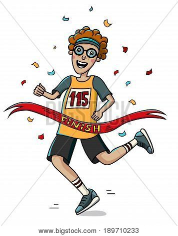 Teenager runner cross the finish line. Cartoon style. Marathon. Vector illustration.
