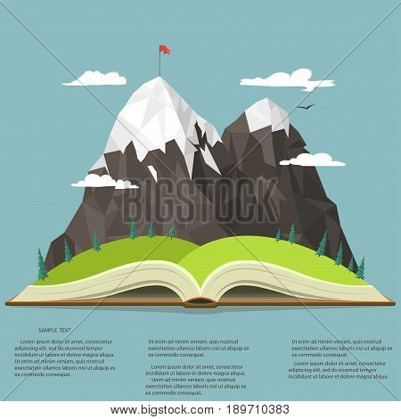 Nature landscape in opened book, mountain peak, business leadership graphics, outdoor traveling illustration, summertime adventure. Vector