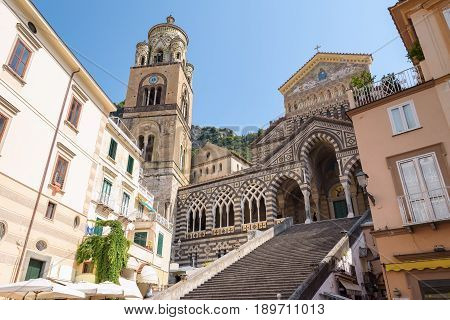 Amalfi Cathedral - a 9th-century Roman Catholic cathedral in the Piazza del Duomo in Amalfi town Campania Italy