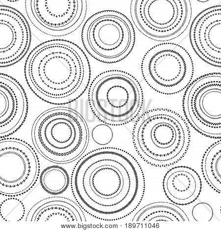 Doodle black and white circles seamless pattern, vector background
