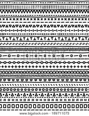 Doodle stripes black and white seamless pattern, vector background