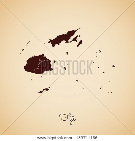 Fiji Region Map: Retro Style Brown Outline On Old Paper Background. Detailed Map Of Fiji Regions. Ve