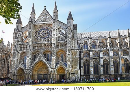 Westminster Abbey (The Collegiate Church of St Peter at Westminster) - Gothic church in City of Westminster, London. Westminster is traditional place of coronation and burial site for English monarchs