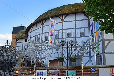 LONDON, ENGLAND - May 24,2017: Globe Theater, associated with William Shakespeare, the building, reconstructed in 1997, is a view from the outside, London, UK