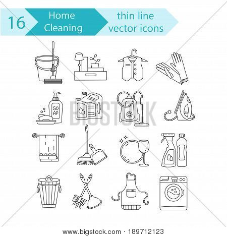 House cleaning thin line vector icon set. For cleaning companies, laundries and dry cleaners service.