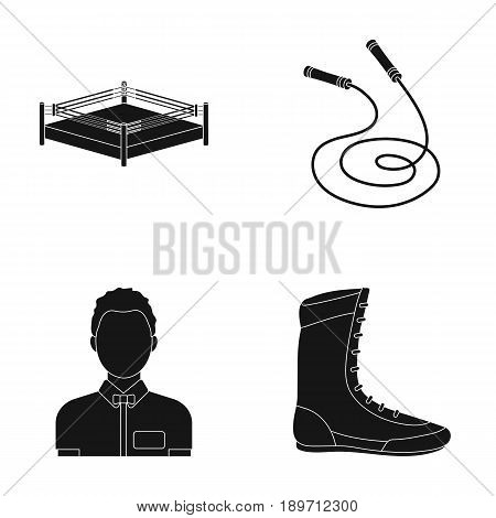 Ring, rope, referee, sneakers .Boxing set collection icons in black style vector symbol stock illustration .
