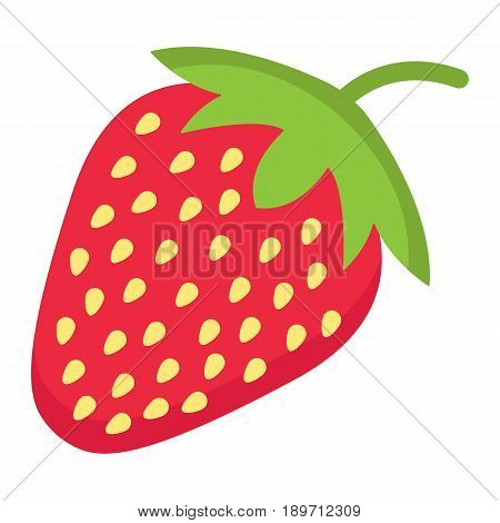 Strawberry flat icon, fruit and diet, vector graphics, a colorful solid pattern on a white background, eps 10.