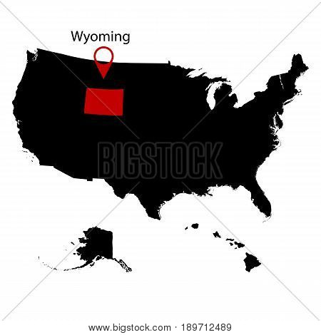U.S. state on the . map Wyoming on a white background