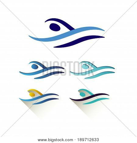Modern Vector Abstract Swimming Logo. Pool logo set. Swimming through waves concept design