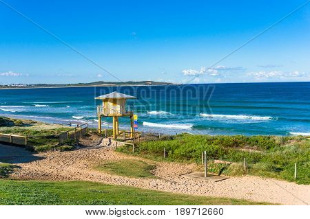 Beach Landscape With Rescue Tower And Beautiful Ocean View