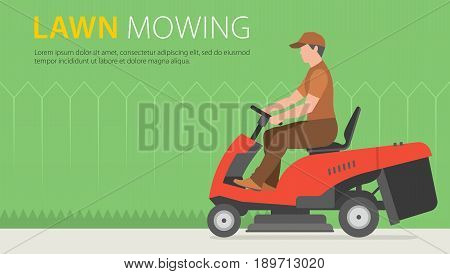 Man mowing the lawn with red Tractor LawnMower
