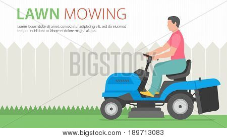 Man mowing the lawn with blue Tractor LawnMower