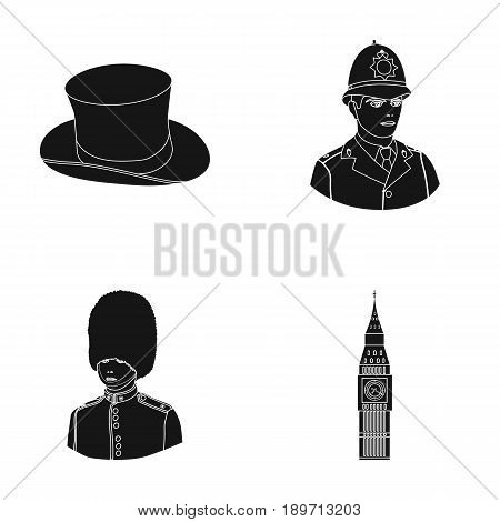 England, gentleman, hat, officer .England country set collection icons in black style vector symbol stock illustration .