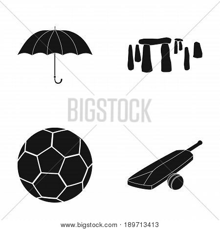 Umbrella, stone, ball, cricket .England country set collection icons in black style vector symbol stock illustration .