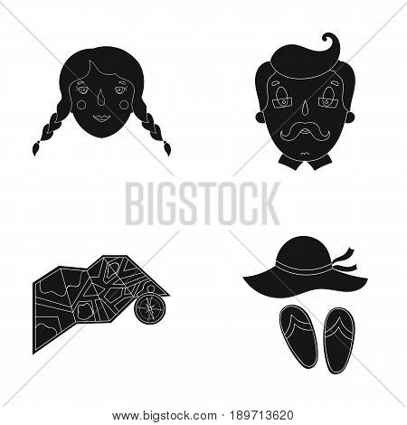 Travel, vacation, camping, map .Family holiday set collection icons in black style vector symbol stock illustration .
