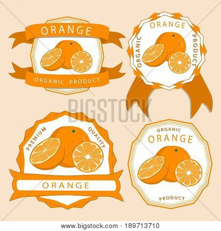 Abstract vector illustration logo for whole ripe fruit yellow orange with green stem leaf cut sliced.Orange drawing consisting of tag label bow peel fruits pip ripe sweet food.Eat fresh oranges health