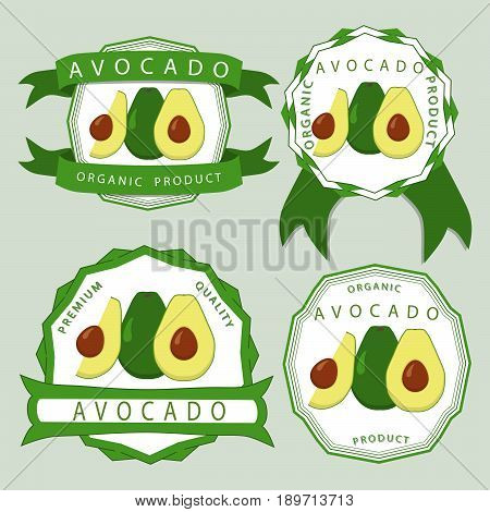 Abstract vector illustration logo for whole ripe fruit avocado with green leaf cut sliced product closeup background.Avocado drawing consisting of tag label ribbon rope ripe food.Eating fresh avocados