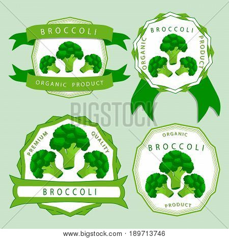 Vector illustration logo for whole ripe vegetables broccoli with green stem leaf cut sliced close-up background.Broccoli drawing pattern consisting of tag label bow peel ripe food.Eat fresh broccolis.