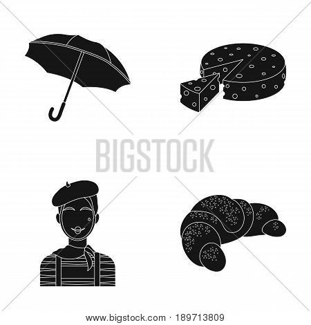 Umbrella, traditional, cheese, mime .France country set collection icons in black style vector symbol stock illustration .
