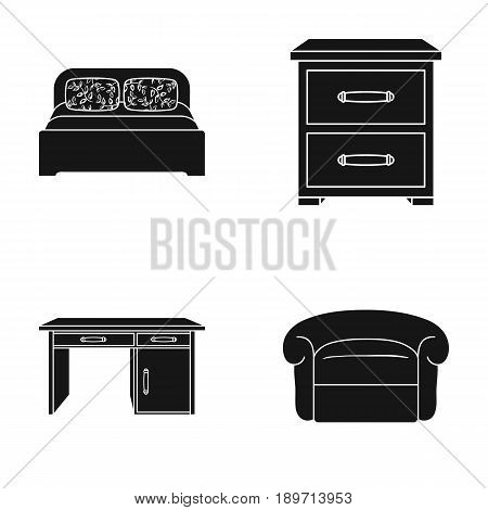 Interior, design, bed, bedroom .Furniture and home interiorset collection icons in black style vector symbol stock illustration .