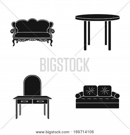 Sofa, armchair, table, mirror .Furniture and home interiorset collection icons in black style vector symbol stock illustration .